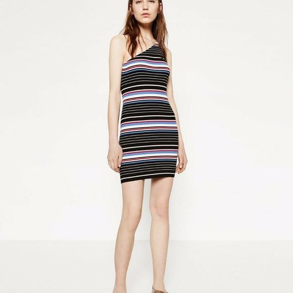Zara Dresses & Skirts - Zara One Shoulder Bodycon Ribbed Knit Stripe Dress